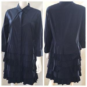 Navy Blue Pleated Ruffles Shirt Dress 3/4 Sleeve